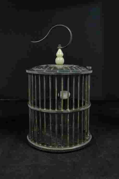 Elegant Qing Dynasty Jade Bird Cage with Calligraphy