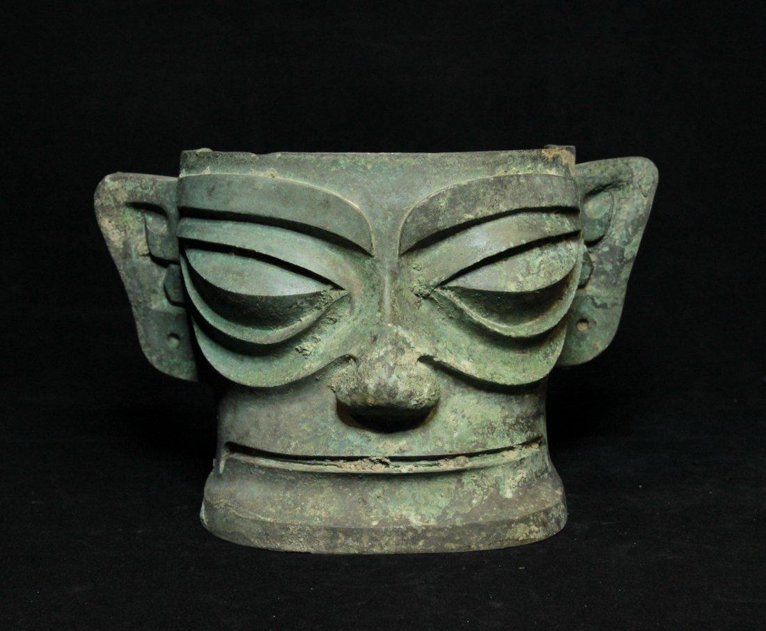 Rare Shang Dynasty Sanxingdui Bronze Mask