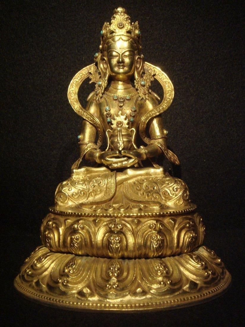 Qing Dynasty Qianlong Tibetan Gilt Silver Amitayus