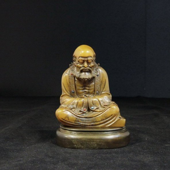 Qing Dynasty Carved Soapstone Damo Figure