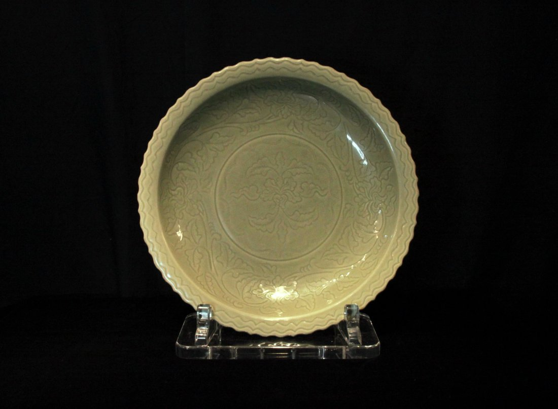 Very Large Ming Dynasty Longquan Kiln Celadon Charger
