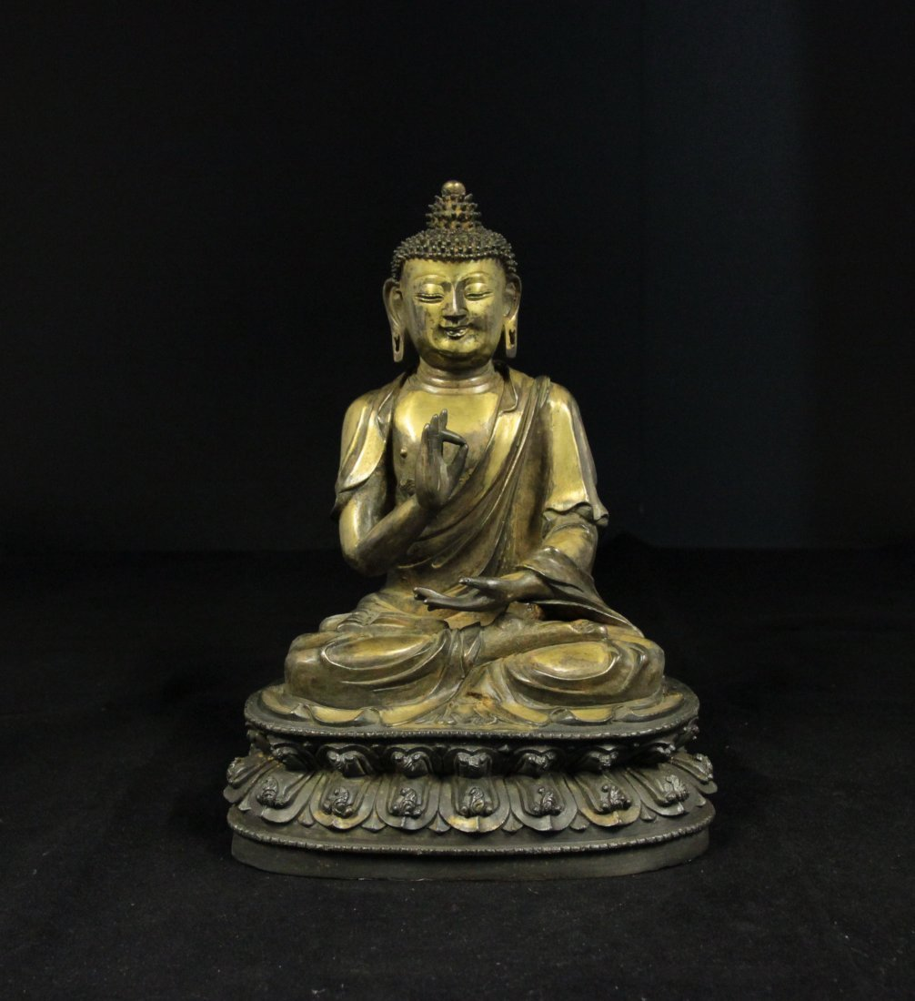 Unusual Ming Dynasty Gilt-Bronze Sakyamuni Buddha