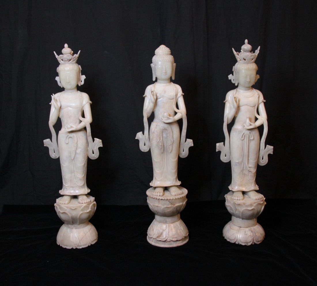 Rare & Large Set of Three Tang Dynasty Jade Buddhas