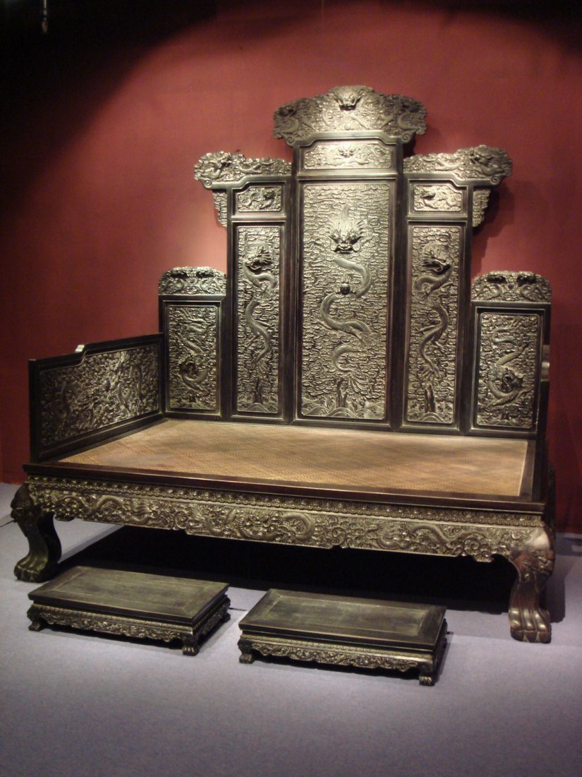 Very Important Qing Dynasty Imperial Zitan Dragon Bed