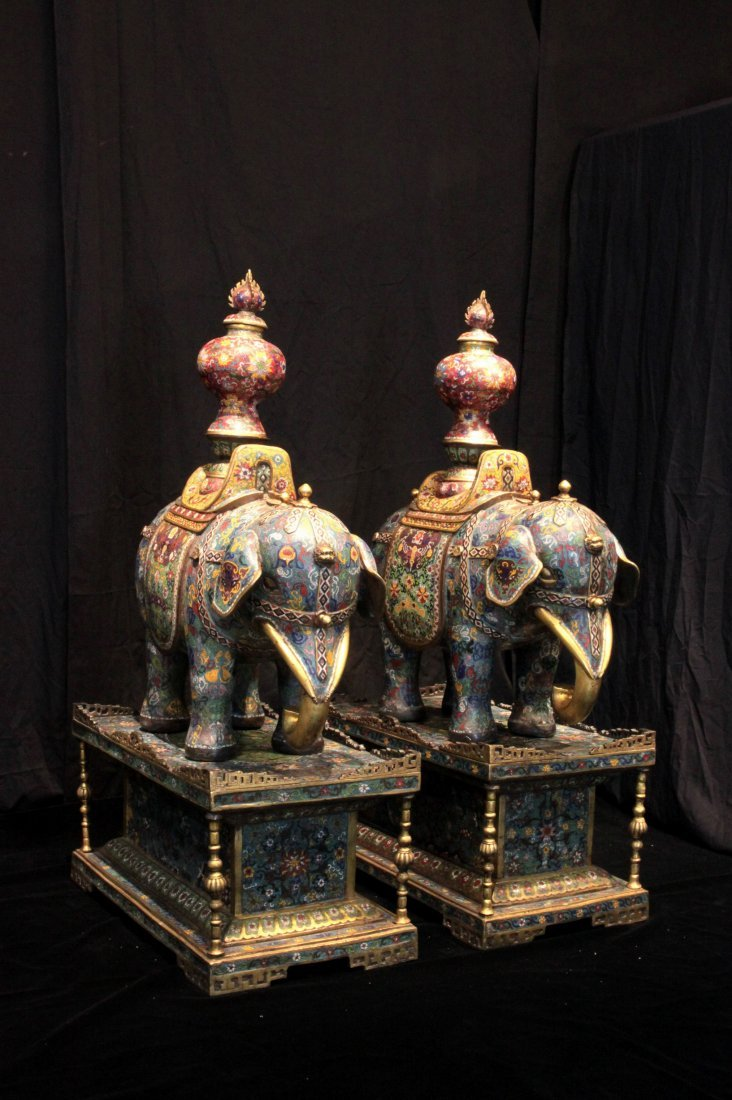 Pair of Qing Dynasty Cloisonné Imperial Elephant Stands