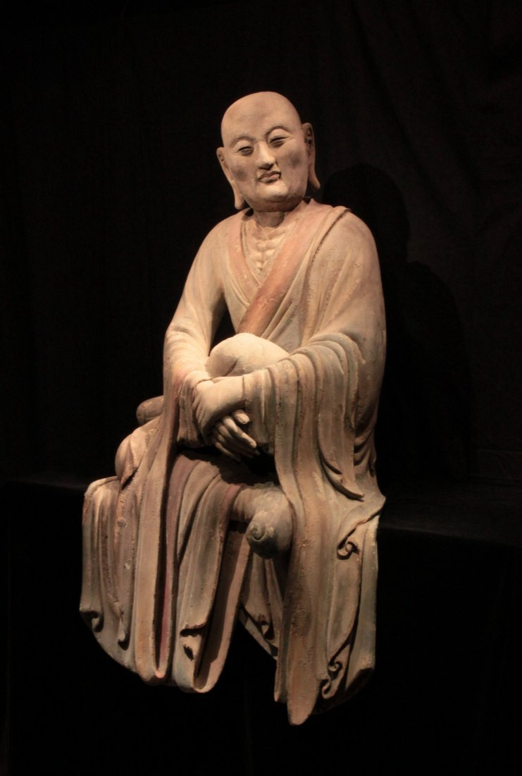 Important Song Dynasty Wood Polychrome Luohan Figure