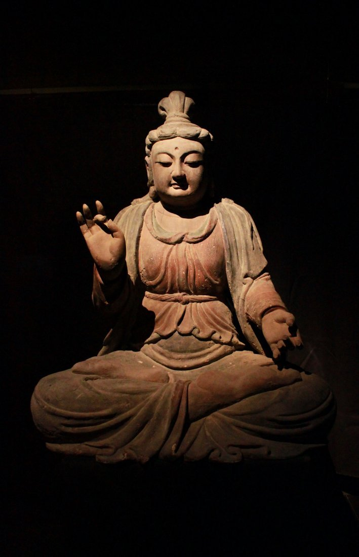 Important Song Dynasty Life-sizeWood Polychrome Guanyin