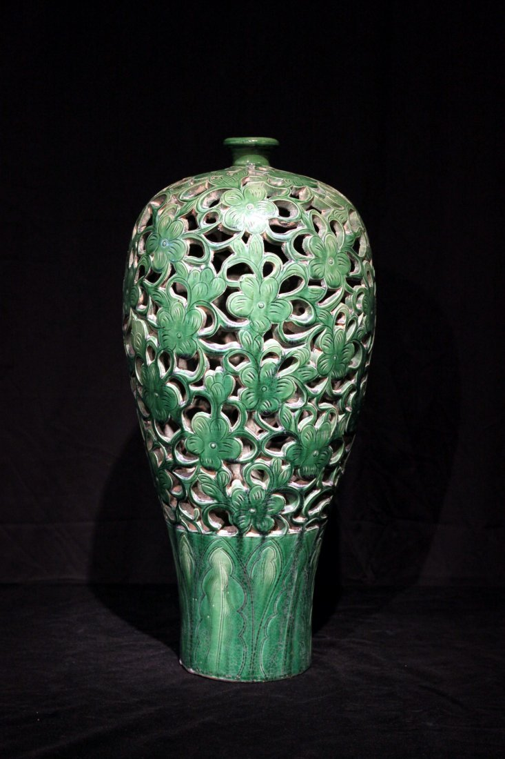 Tang Dynasty Openwork Green Glazed Pottery Meiping Vase