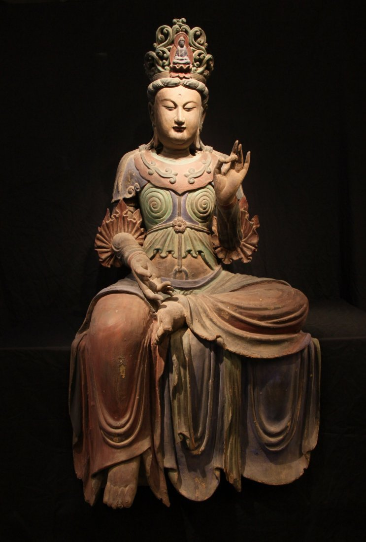 Important Northern Song Dynasty Wood Polychrome Guanyin