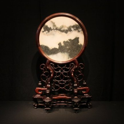 Qing Dynasty Rosewood with Marble Inlaid Table Screen