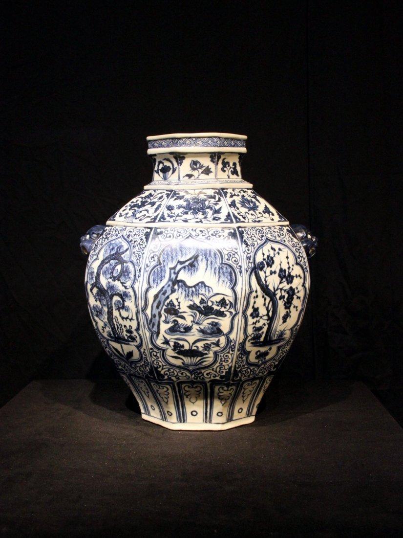 Yuan Dynasty Blue & White Octagonal Jar w/ Mask Handles