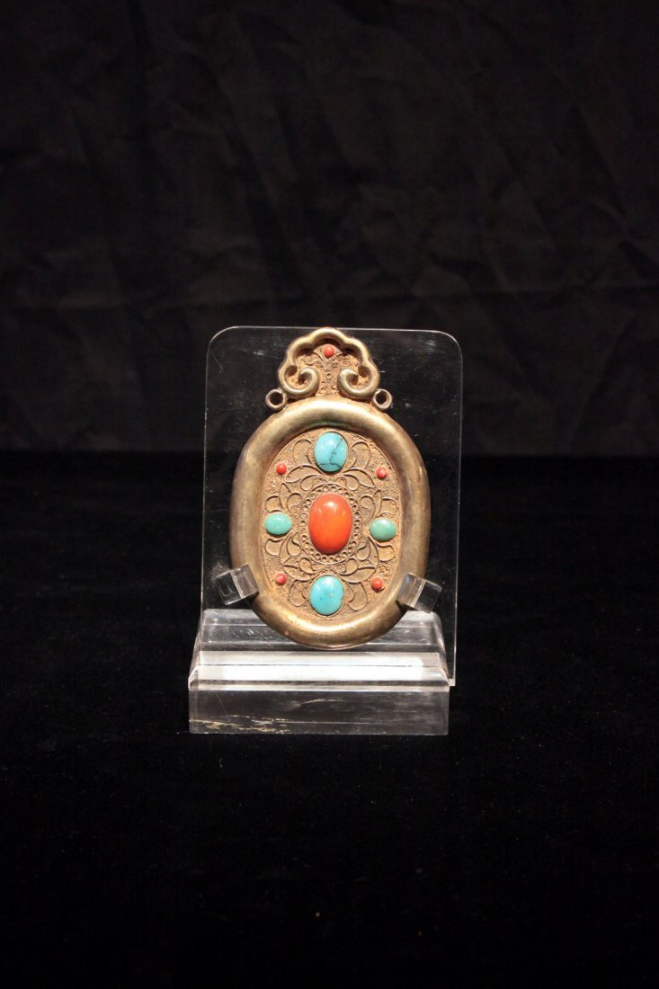 Tang Dynasty Gilt-Bronze Tablet Inlaid with Turquoise