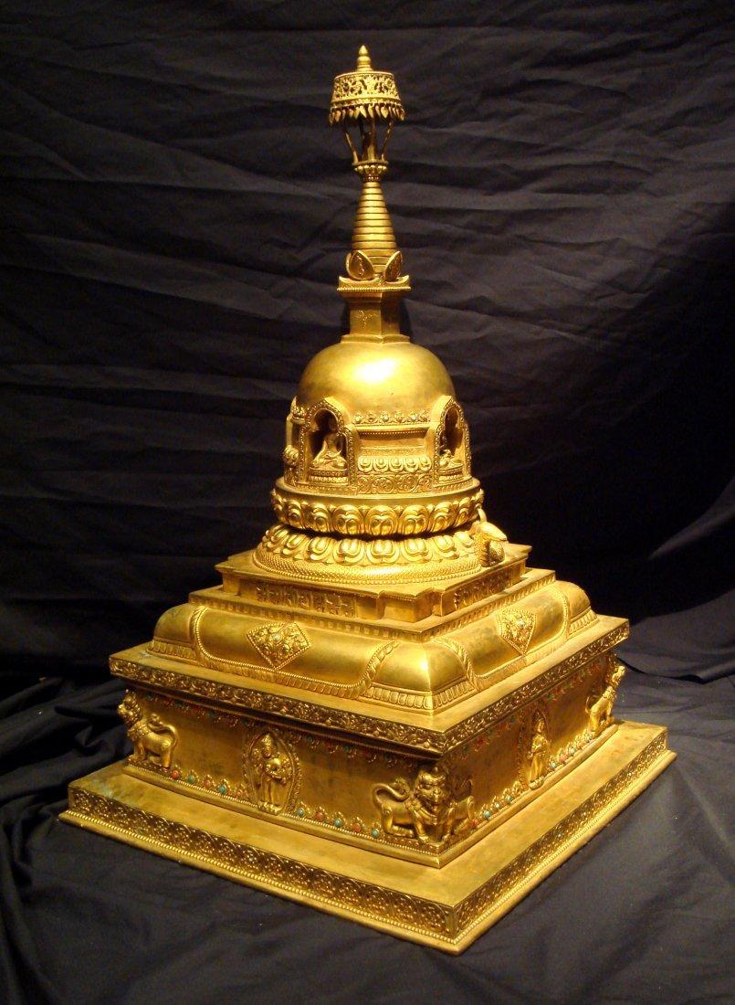 Vey Rare Massive Ming Dynasty Gilt Bronze Buddha Stupa