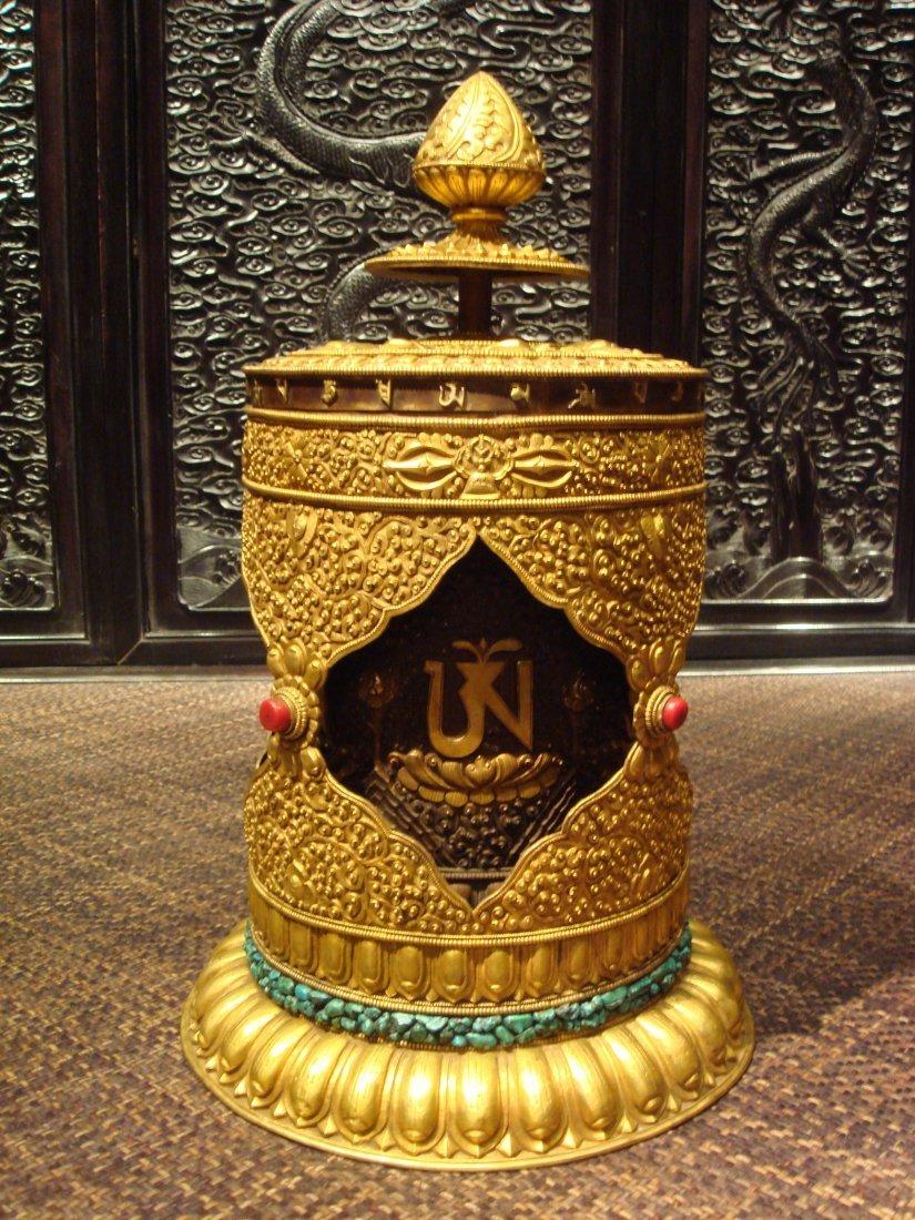 Very Rare Ming Dynasty Gilt-Bronze Tibetan Prayer Wheel