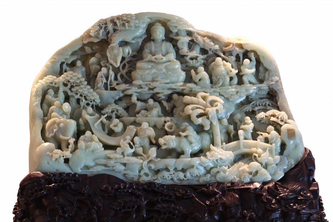 Massive Qing Dynasty Imperial Hetian Jade Luohans