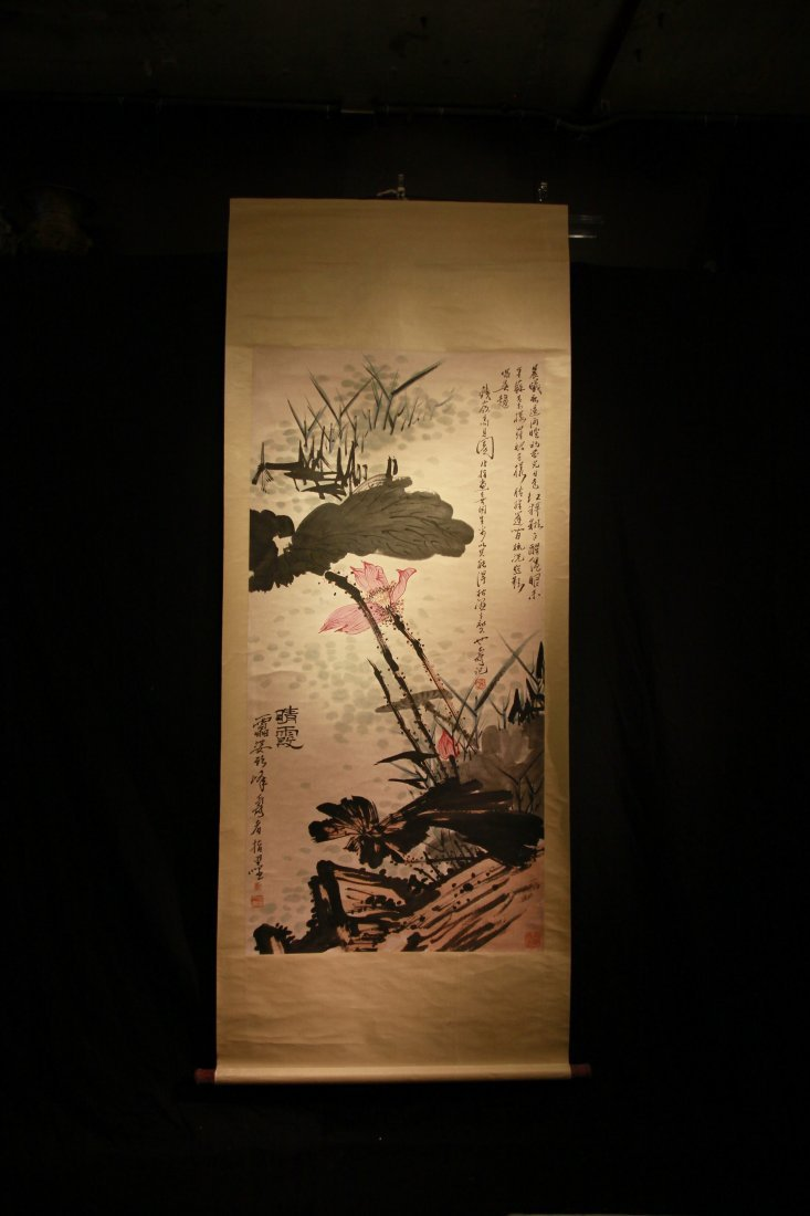 Famous Chinese Artist Pan Tianshou' s Painting Scroll