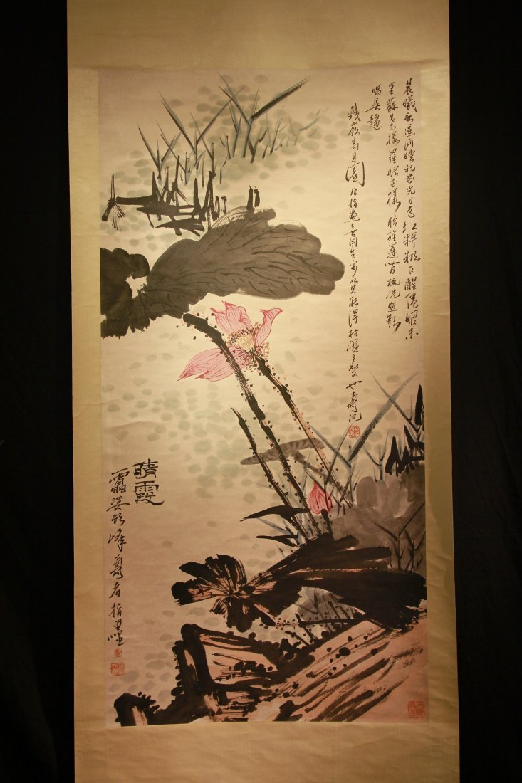 Famous Chinese Artist Pan Tianshou' s Painting Scroll - 2