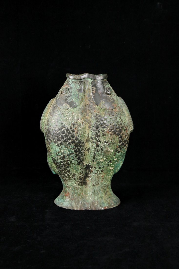 Tang Dynasty Bronze Double Fish Vessel
