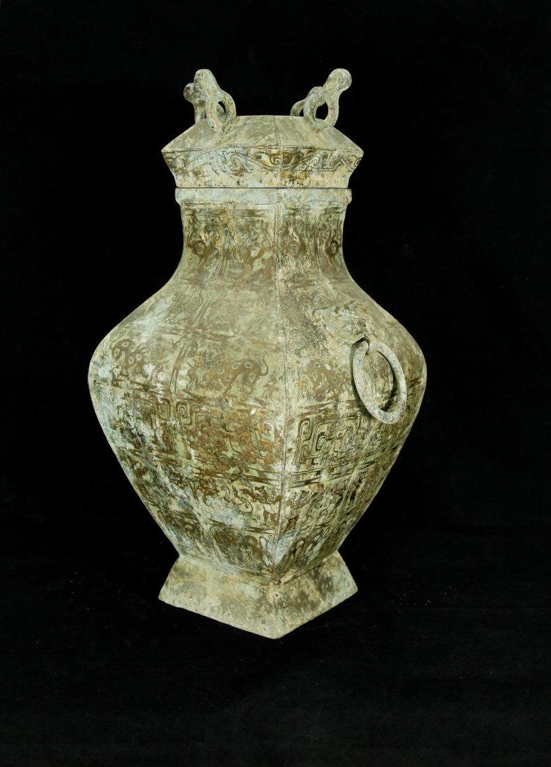 Rare Warring States Gilt-Inlaid Bronze Fang Hu w/ Cover