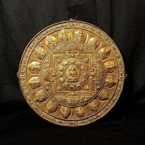 Rare Ming Dynasty Gilt Bronze Tibetan Buddhism Mandala