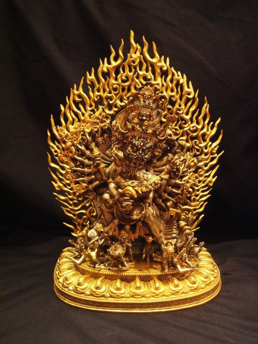 Elegant Tang Dynasty Gilt-Silver Yamantaka Vajrabhairav
