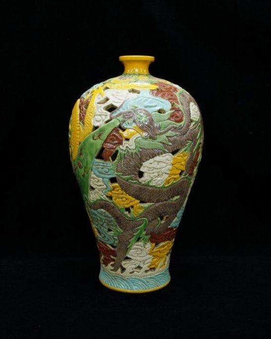 Rare Yuan Dynasty Openwork Wucai Dragon Meiping