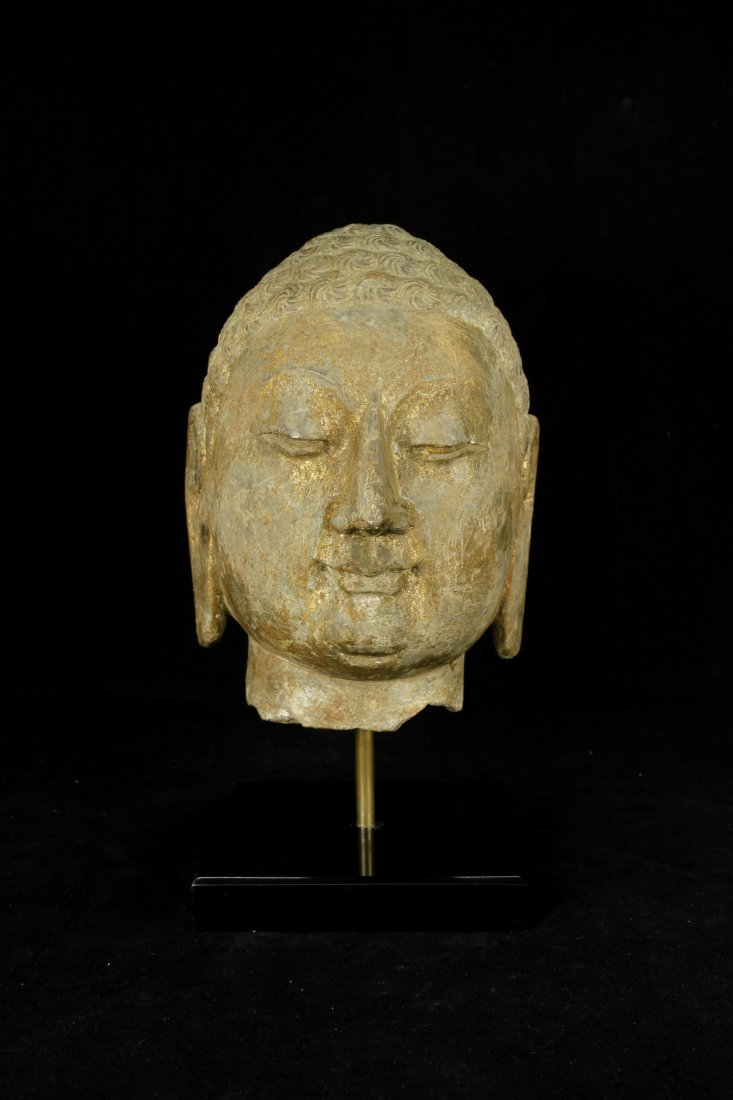 Tang Dynasty Carved Stone Buddha Head w/ Gold Foil