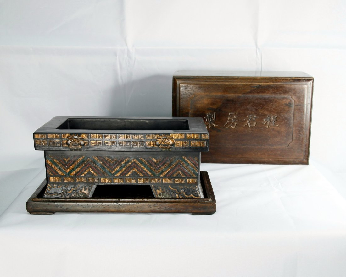 Rare Ming Dynasty Imperial Ink Block with Rosewood Box