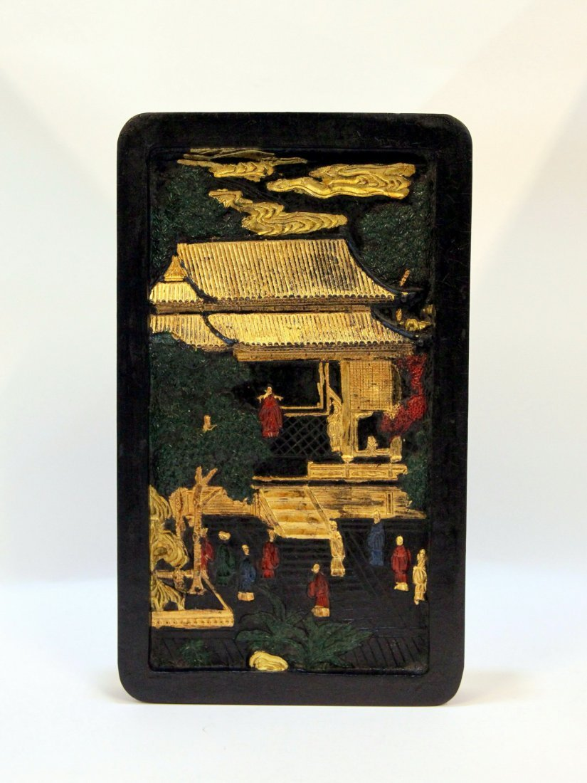 Exquisite Ming Dynasty Gilt Ink Block with Calligraphy