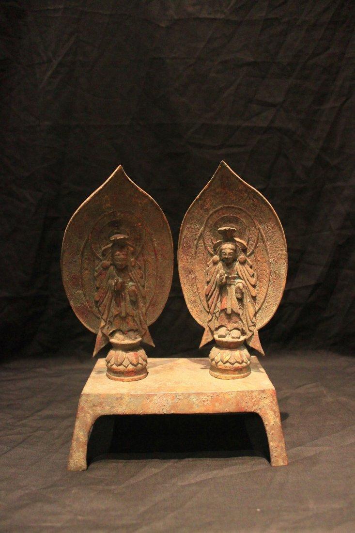 Tang Dynasty Gilt-Bronze Standing Bodhisattvas Figure