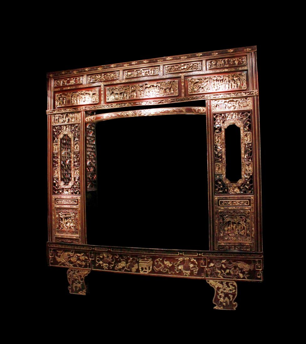 Qing Dynasty Canopy Bed Decorated with Drama Story