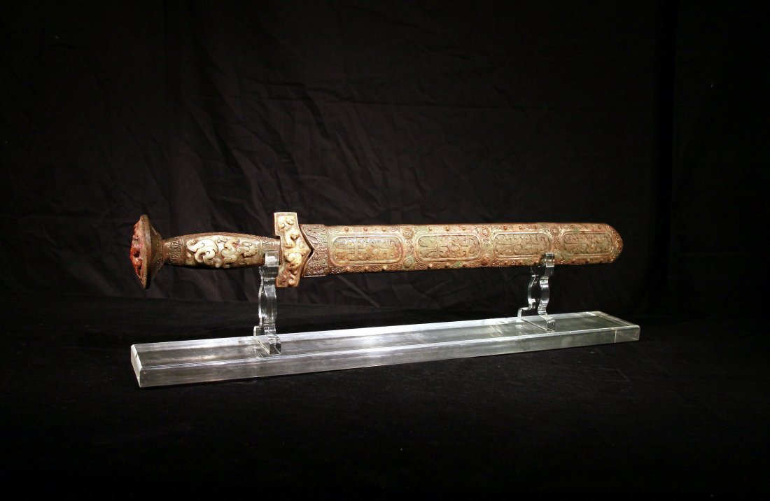 Warring States Gilt-Bronze Sword Inlaid with Jade Deco