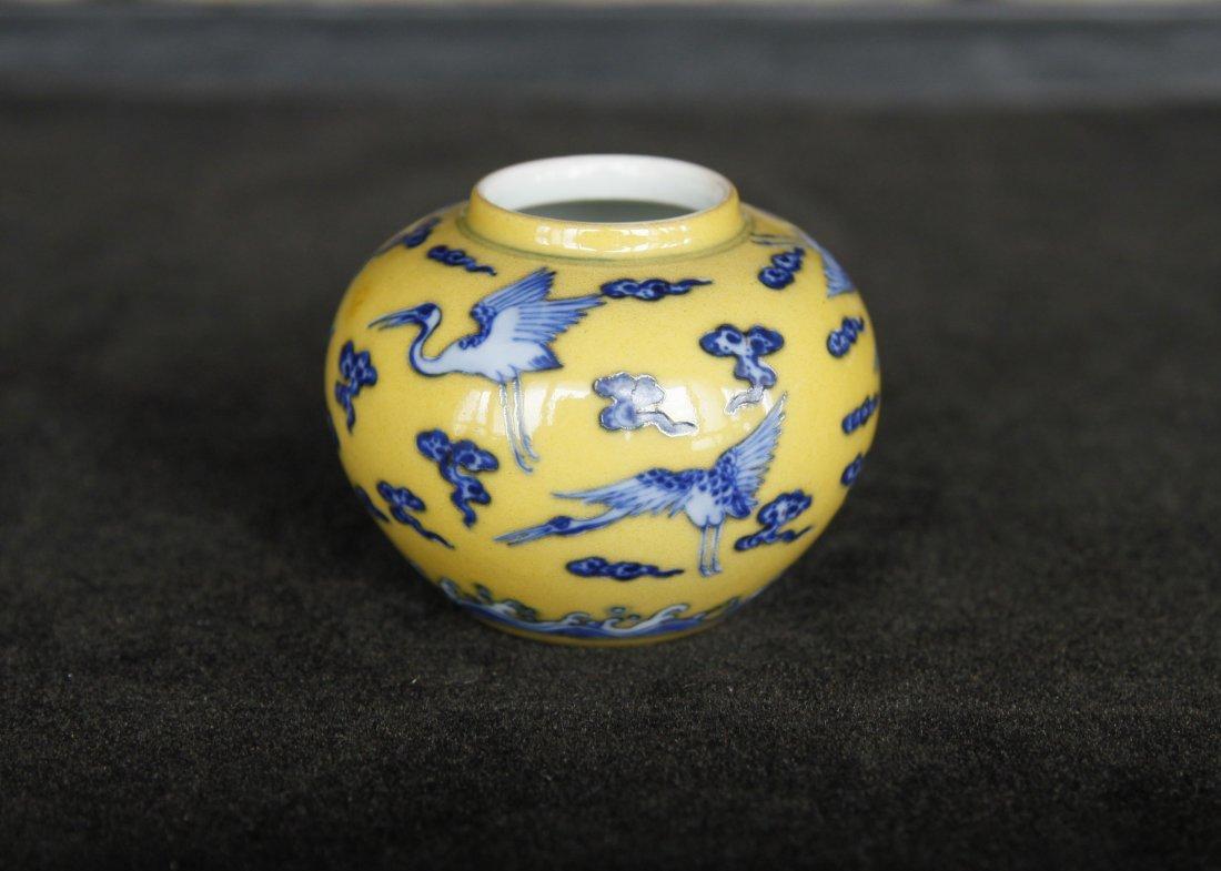 Qing Dynasty Yongzheng Imperial Blue & Yellow Waterpot