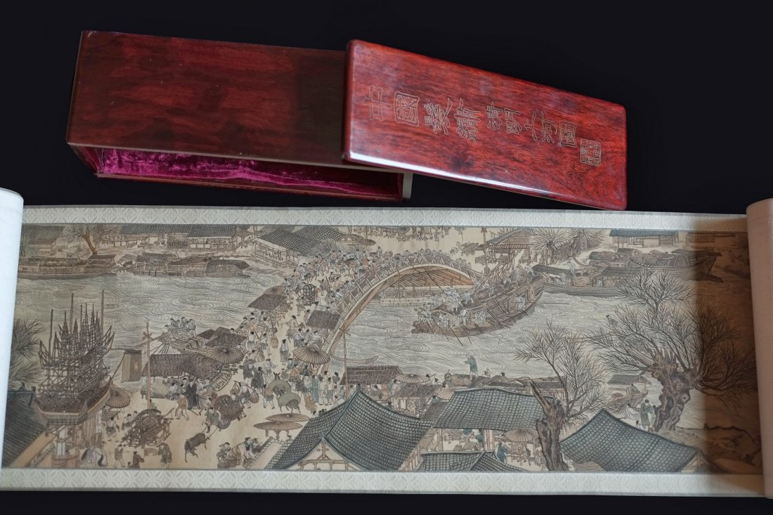 Very Rare Hair Embroidery of River Scenery of Qing Ming