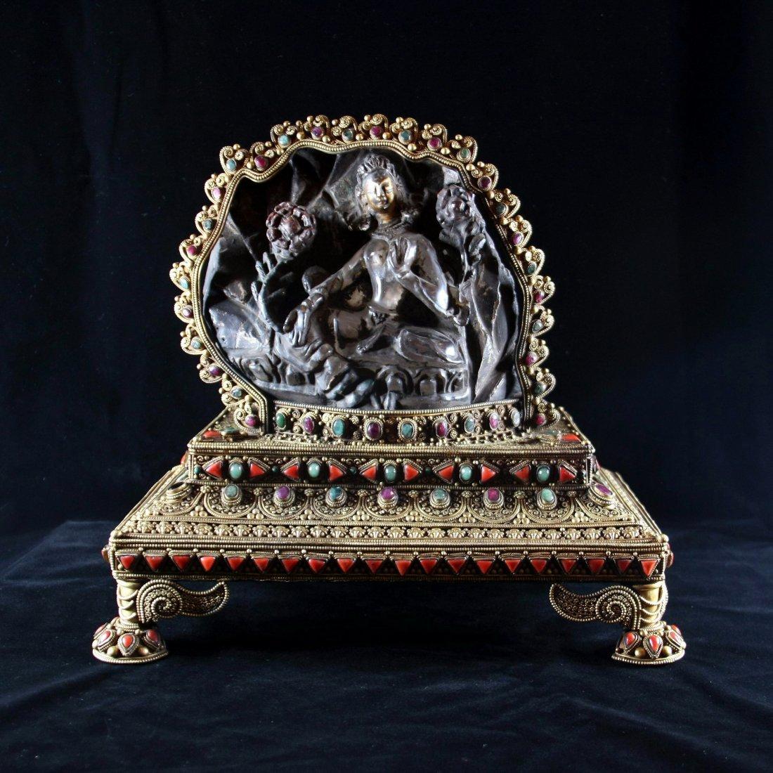 Tang Dynasty Rock Crystal Carving of Tara Bodhisattva