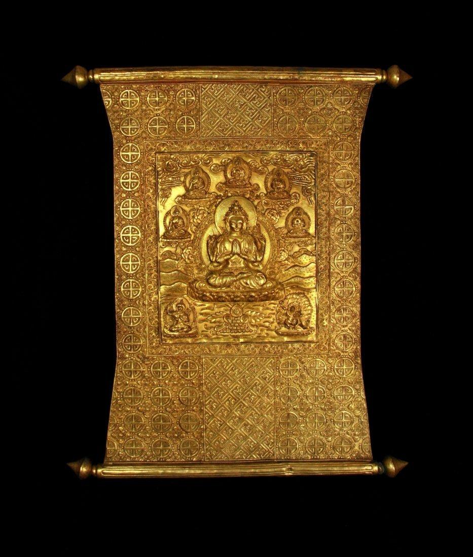 Very Important Qing Dynasty Gilt-Bronze Tibetan Mandala