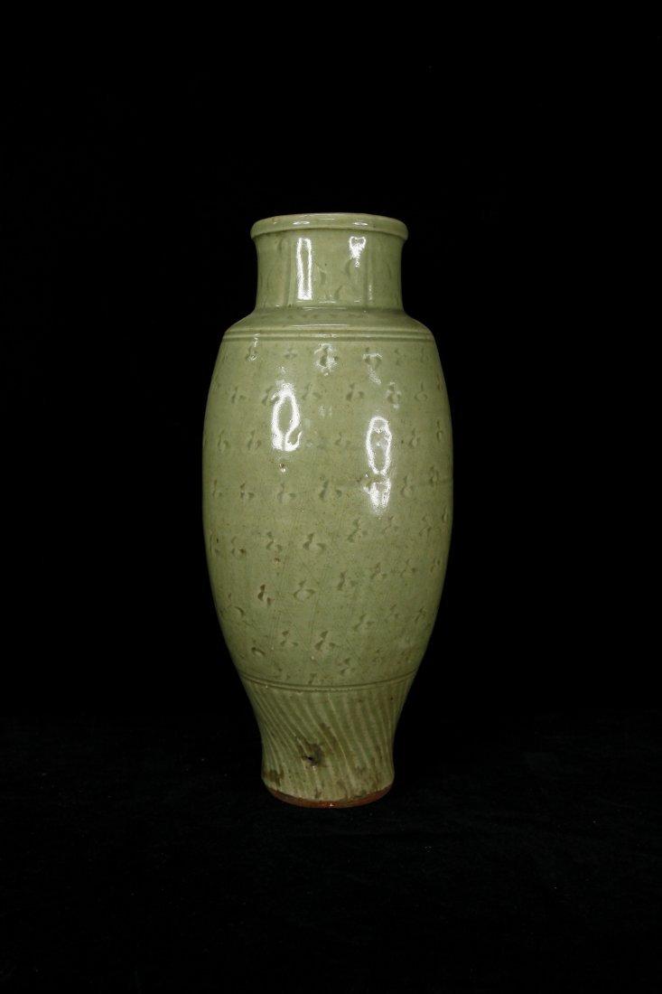 Rare Yuan Dynasty Carved Celadon Longquan Vase