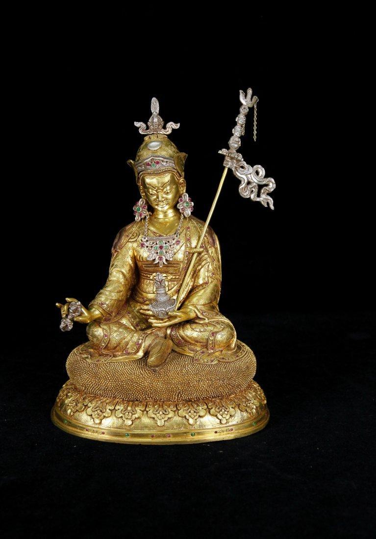 Qing Dynasty Gilt-Bronze Padmasambhava Figure