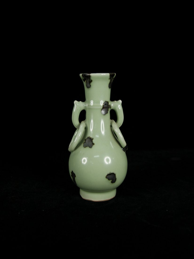 Elegant Ming Dynasty Spotted Celadon Pear-Shaped Vase