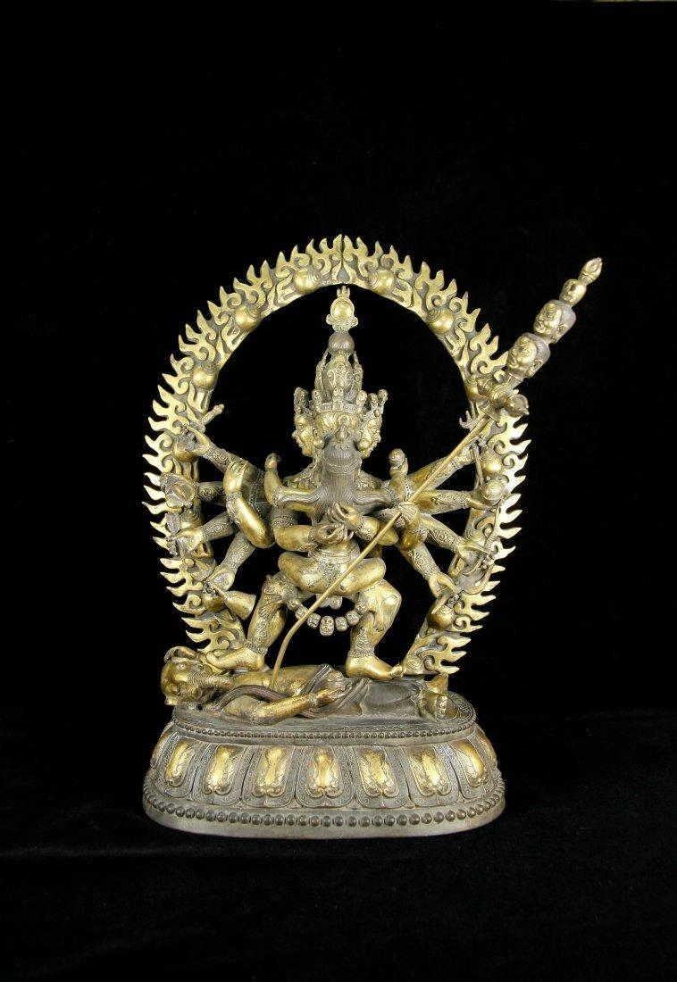 Rare Ming Dynasty Tibet Gilt-Bronze Mandkesvara Figure