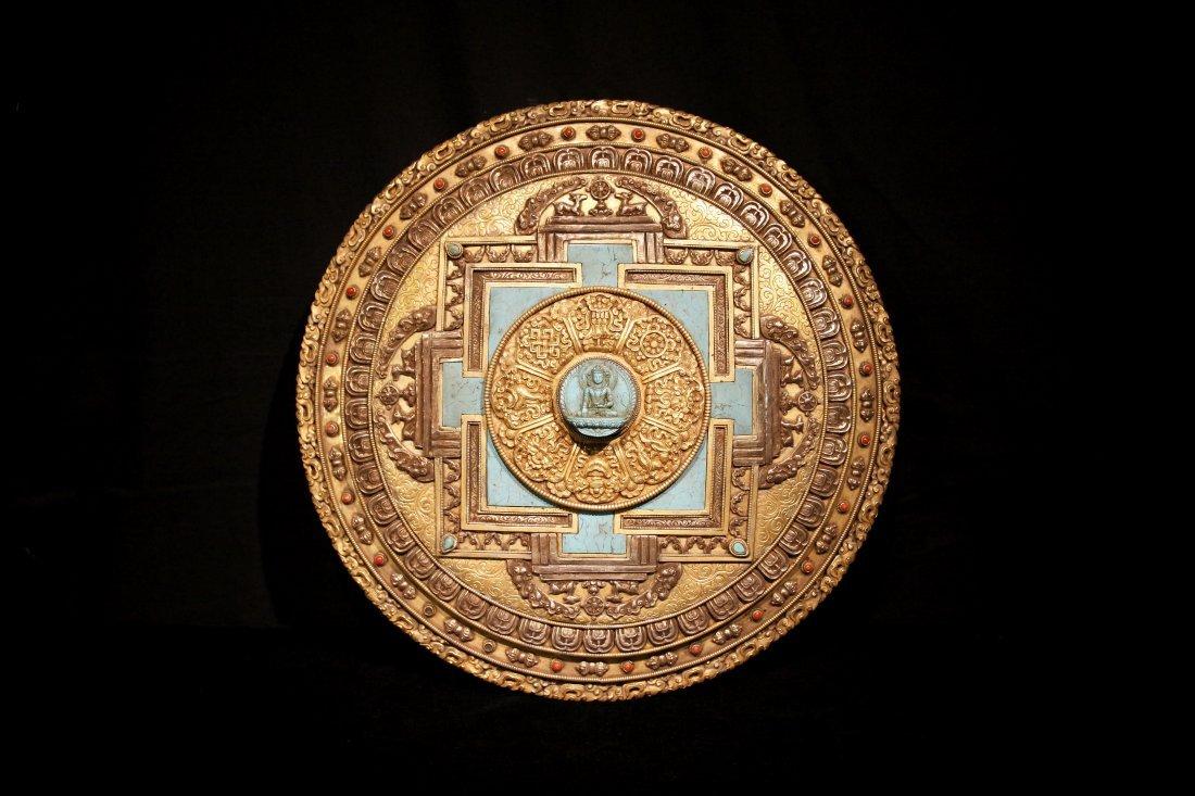 Qing Dynasty Gilt Bronze Tibetan Mandala w/ turquoise