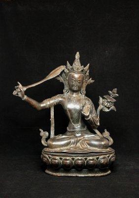 Qing Dynasty A Bronze Manjusri Figure