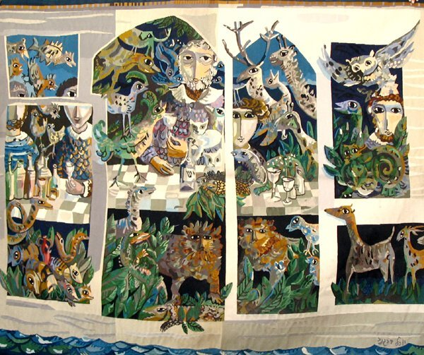 13:   Yosl Bergner (b.1920) Woven Wall TAPESTRY