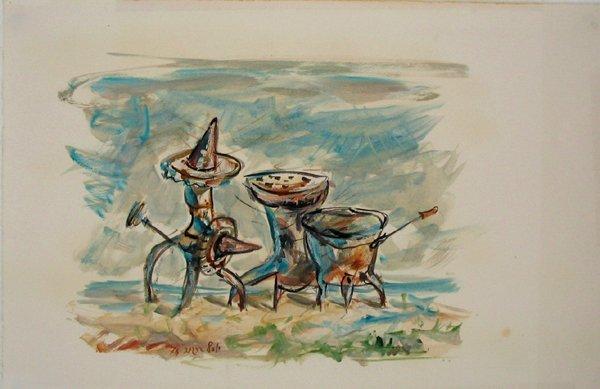 1511: Yosl Bergner Original Oil on Paper Painting