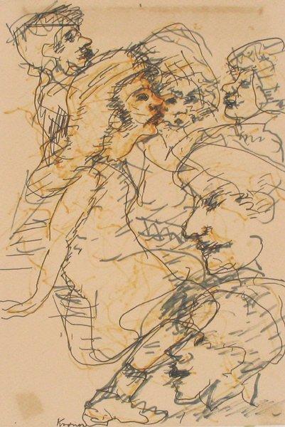 1520: Thomas Kroner Original Color crayons Israeli Art