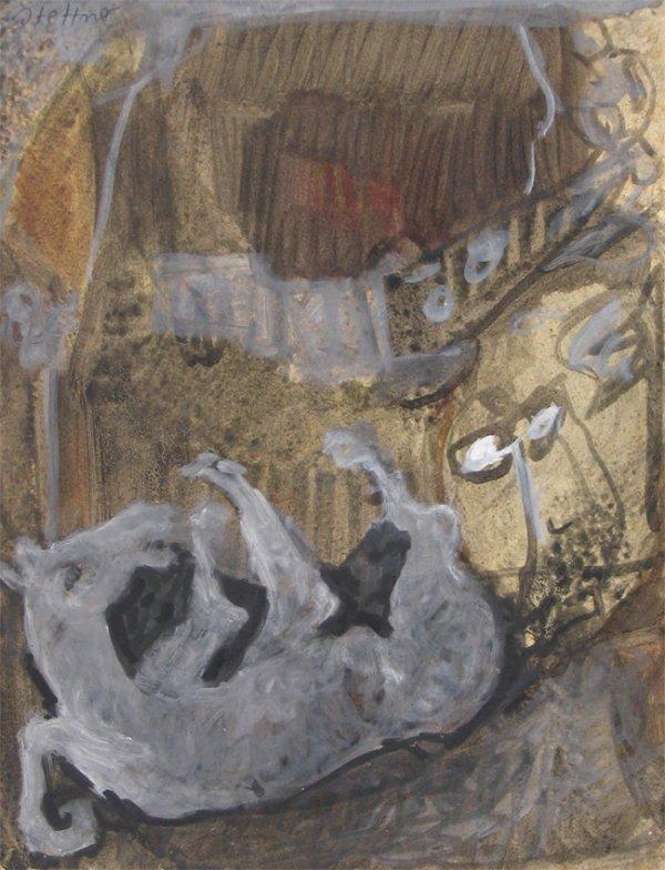 2503: Uri Stettner Original Watercolor Drawing Israeli