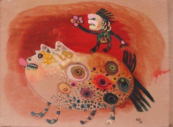 2514: I. Paldi Original mixed-media Drawing Israeli Art