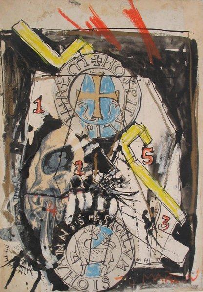 2520: Igael Tumarkin Original Mixed Media Painting