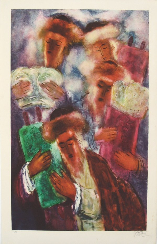 2545: Reuven Rubin Original S&N LITHOGRAPH Jewish Art