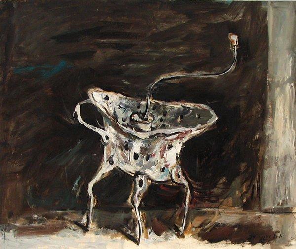 2603: Yosl Bergner Original Oil on Paper Painting